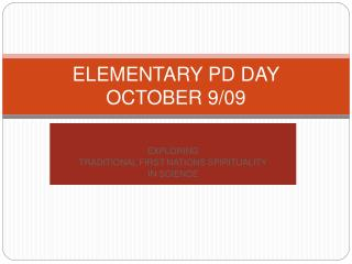 ELEMENTARY PD DAY OCTOBER 9