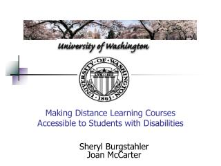 Making Distance Learning Courses  Accessible to Students with Disabilities