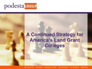 A Continued Strategy for America s Land Grant Colleges