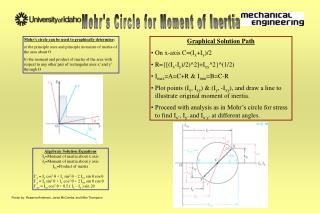 Mohr s circle can be used to graphically determine:  a the principle axes and principle moments of inertia of the area a