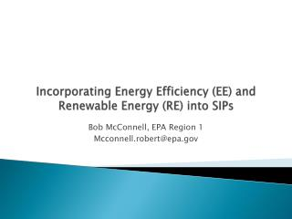 Incorporating Energy Efficiency EE and Renewable Energy RE into SIPs