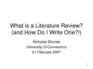 What is a Literature Review and How Do I Write One