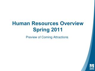 Human Resources Overview  Spring 2011