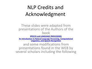 NLP Credits and Acknowledgment