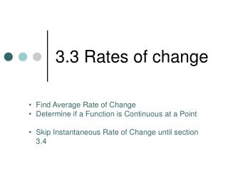 3.3 Rates of change