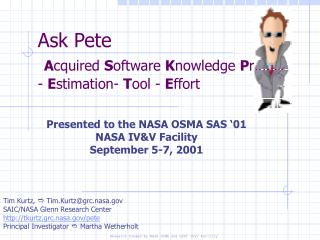 Ask Pete  Acquired Software Knowledge Project - Estimation- Tool - Effort