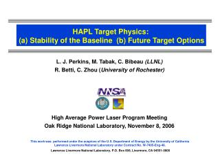 HAPL Target Physics:  a Stability of the Baseline  b Future Target Options