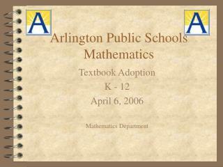 Arlington Public Schools Mathematics