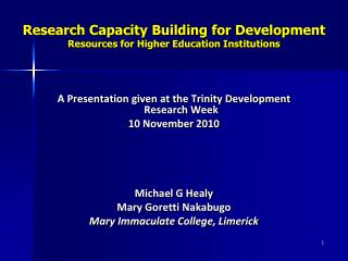 Research Capacity Building for Development  Resources for Higher Education Institutions