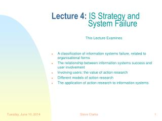 Lecture 4: IS Strategy and      System Failure