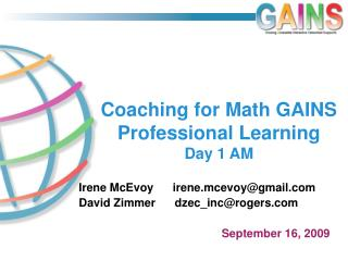 Coaching for Math GAINS Professional Learning Day 1 AM
