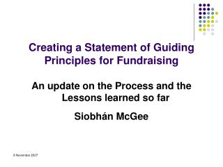 Creating a Statement of Guiding Principles for Fundraising