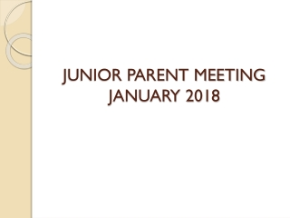 Preparing for College: Senior Parent Meeting