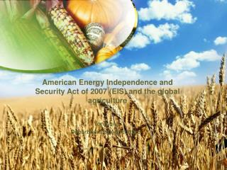 American Energy Independence and Security Act of 2007 EIS and the global agriculture