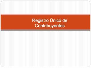Registro  nico de Contribuyentes