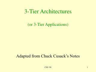 3-Tier Architectures  or 3-Tier Applications