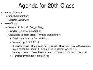 Agenda for 20th Class