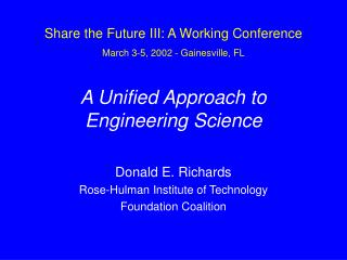 A Unified Approach to Engineering Science