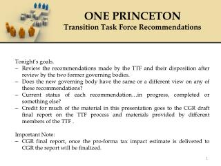 ONE PRINCETON Transition Task Force Recommendations