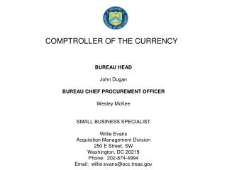 COMPTROLLER OF THE CURRENCY