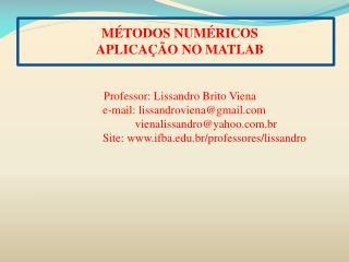 M TODOS NUM RICOS APLICA  O NO MATLAB    Professor: Lissandro Brito Viena    e-mail: lissandrovienagmail