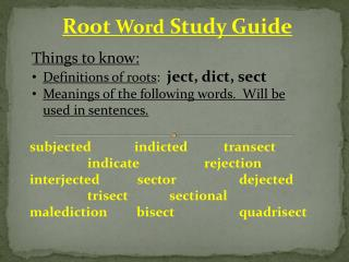 Root Word Study Guide