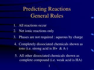 Predicting Reactions General Rules