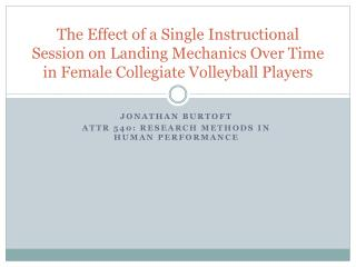 The Effect of a Single Instructional Session on Landing Mechanics Over Time in Female Collegiate Volleyball Players