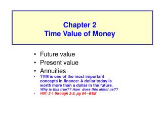Future value Present value Annuities TVM is one of the most important concepts in finance: A dollar today is worth more