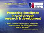 Promoting Excellence  in care through  research  development