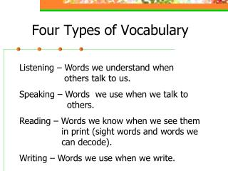 Four Types of Vocabulary