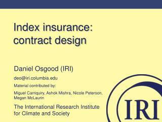 Index insurance:      contract design