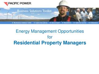Energy Management Opportunities  for  Residential Property Managers