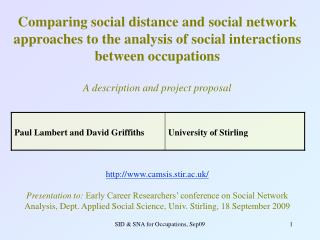 Comparing social distance and social network approaches to the analysis of social interactions between occupations   A d