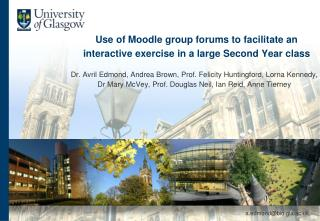 Use of Moodle group forums to facilitate an interactive exercise in a large Second Year class