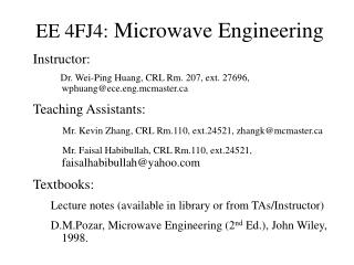 EE 4FJ4: Microwave Engineering