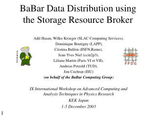 BaBar Data Distribution using the Storage Resource Broker
