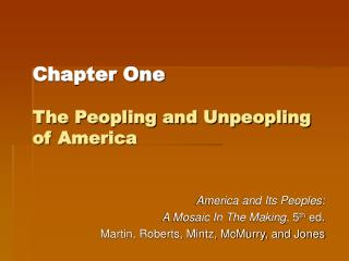 Chapter One  The Peopling and Unpeopling of America