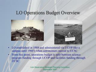 LO Operations Budget Overview