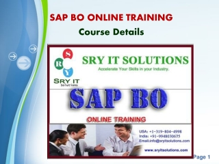 SAP BO Online Training (Business Objects)