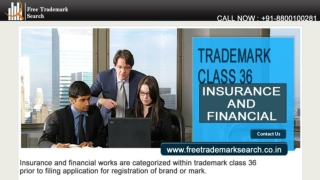 Trademark Class 36 | Insurance and Financial