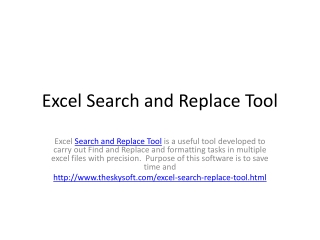 Excel Search and Replace Tool