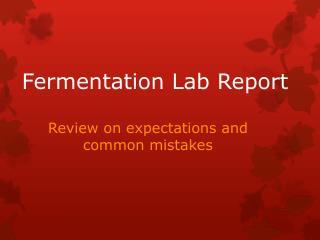 Fermentation Lab Report