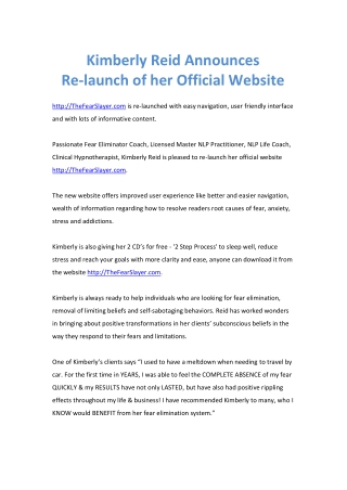 Kimberly Reid Announces Re-launch of her Official Website
