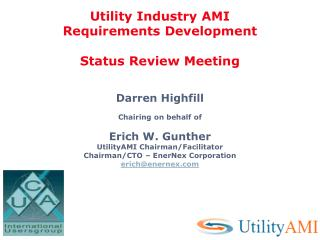 Utility Industry AMI Requirements Development  Status Review Meeting