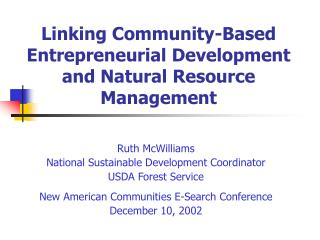 Linking Community-Based Entrepreneurial Development and Natural Resource Management
