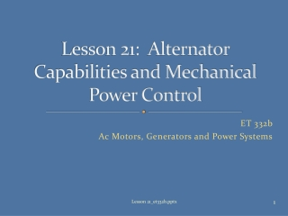 ENGR 10 Lecture on   Electrical and Mechanical Power