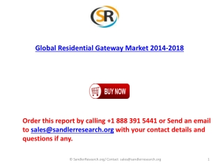 Global Residential Gateway Market 2018 Forecast in Research