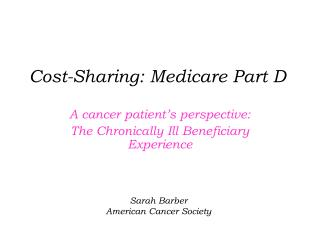 Cost-Sharing: Medicare Part D