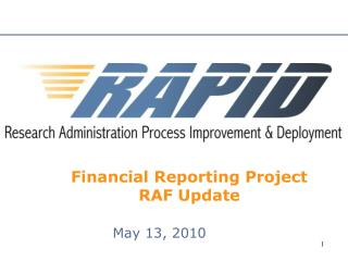 Financial Reporting Project RAF Update